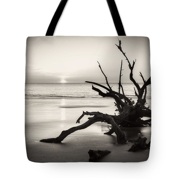 Morning Sun On Driftwood Beach In Black And White Tote Bag