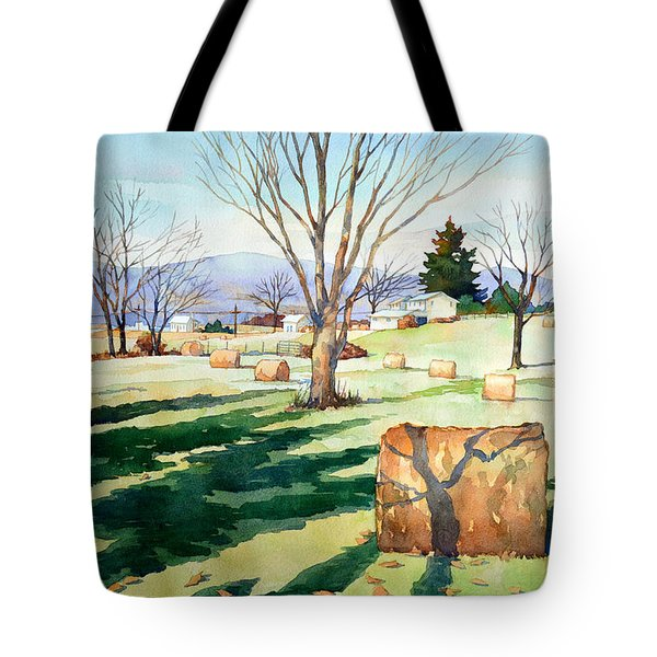 Morning Sun On Haybales Tote Bag