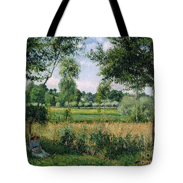 Morning Sunlight Effect At Eragny Tote Bag by Camille Pissarro