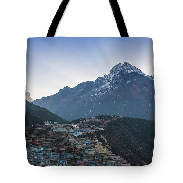 Tote Bag featuring the photograph Morning Sunrays Namche by Mike Reid