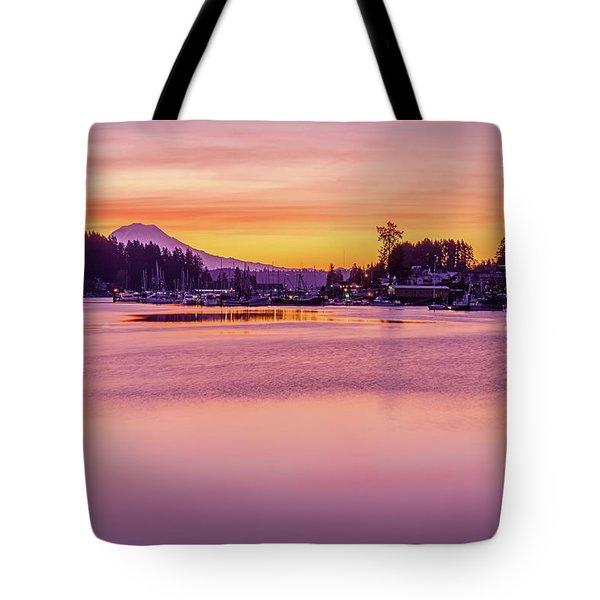 Morning Sunrise In Gig Harbor Tote Bag by Ken Stanback