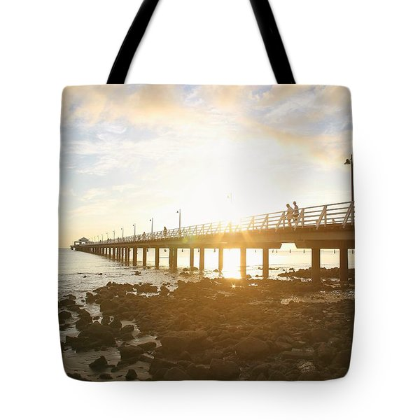 Morning Sunshine At The Pier  Tote Bag