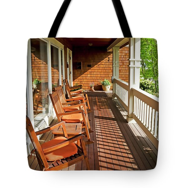 Morning Sunshine On The Porch Tote Bag by Maria Janicki
