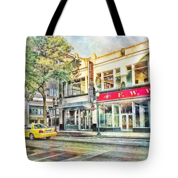 Morning Taxi Downtown Urban Scene Tote Bag