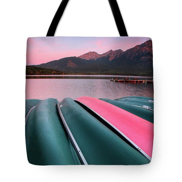 Morning View Of Pyramid Lake In Jasper National Park Tote Bag by Mark Duffy