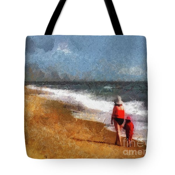 Morning Walk Along The Beach Tote Bag