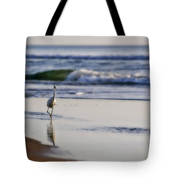 Morning Walk At Ormond Beach Tote Bag by Steven Sparks