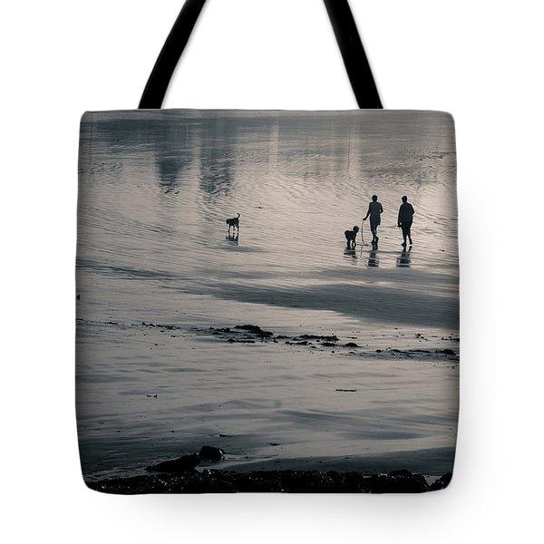 Morning Walk, Gooch's Beach, Kennebunk, Maine Tote Bag