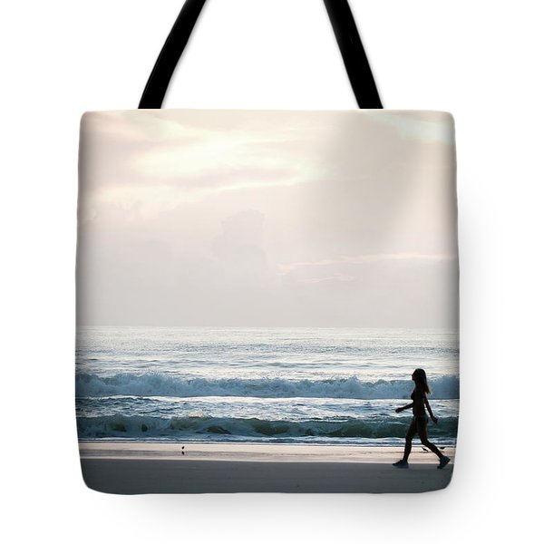 Morning Walk With Color Tote Bag