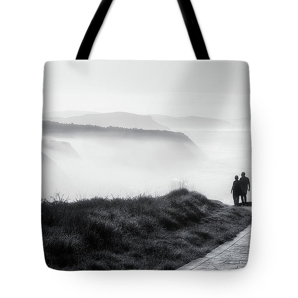 Morning Walk With Sea Mist Tote Bag