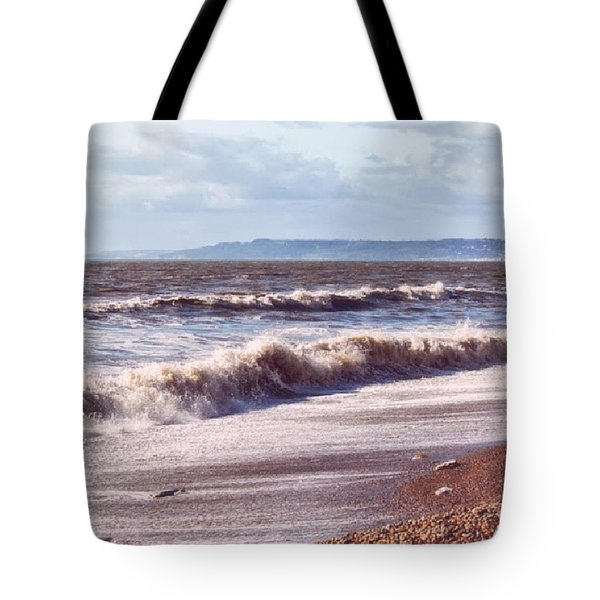 Morning Waves On The Shore Tote Bag by Vicki Field