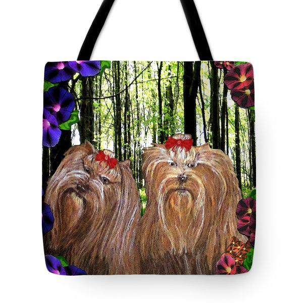 Tote Bag featuring the digital art Morning Yorkies by Michelle Audas
