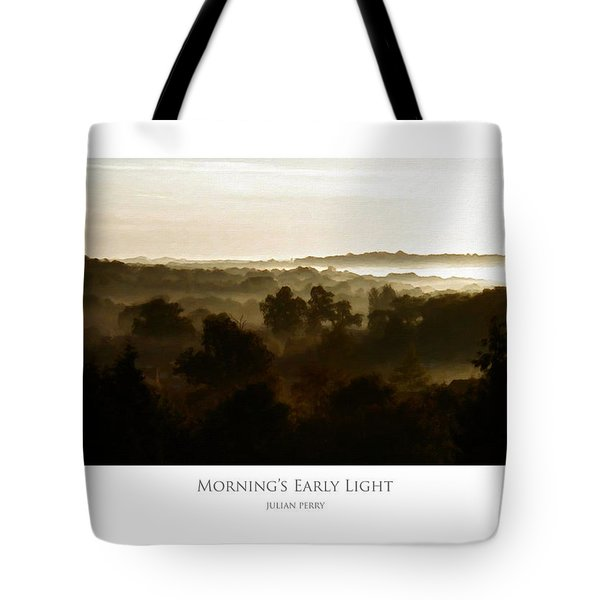 Tote Bag featuring the digital art Morning's Early Light by Julian Perry