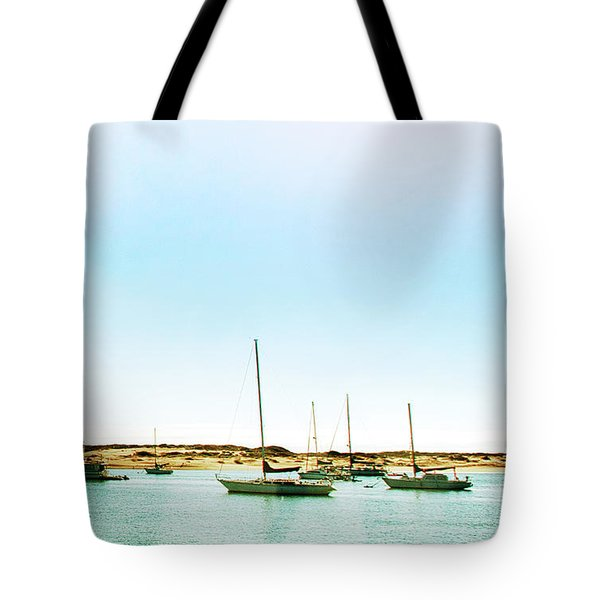 Moro Bay Inlet With Sailboats Mooring In Summer Tote Bag