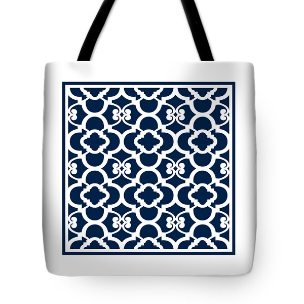 Moroccan Floral Inspired With Border In Oxford Blue Tote Bag