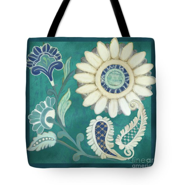 Tote Bag featuring the painting Moroccan Paisley Peacock Blue 2 by Audrey Jeanne Roberts
