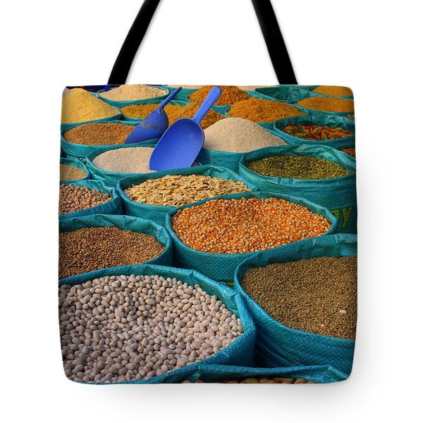 Tote Bag featuring the photograph Moroccan Spice Market by Ramona Johnston