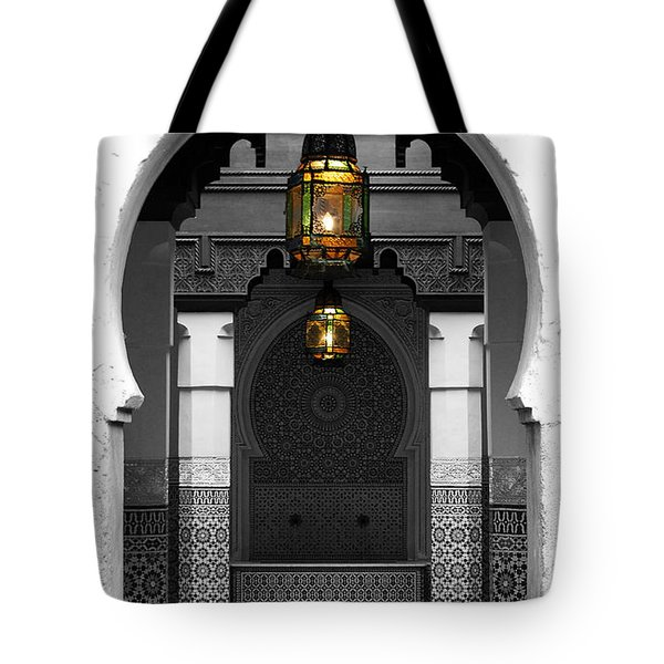 Tote Bag featuring the digital art Moroccan Style Doorway Lamps Courtyard And Fountain Color Splash Black And White by Shawn O'Brien