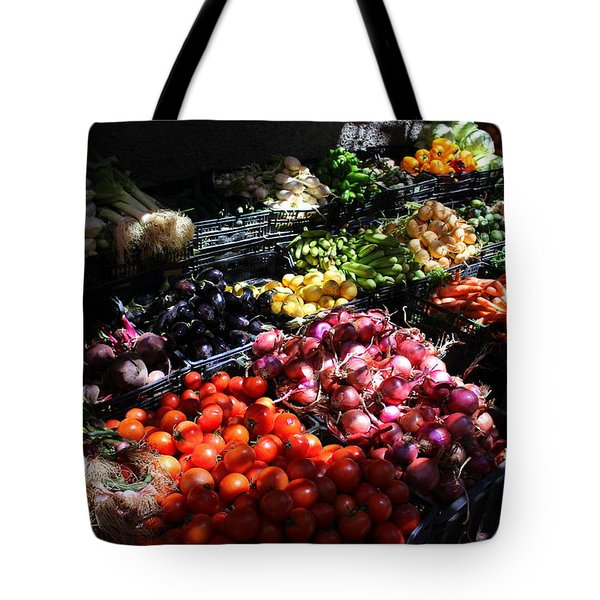 Tote Bag featuring the photograph Moroccan Vegetable Market by Ramona Johnston