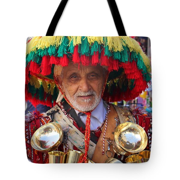 Tote Bag featuring the photograph Moroccan Water Seller by Ramona Johnston