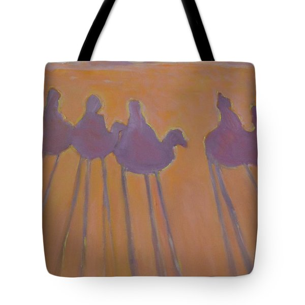 Morocco, Camels, Riders And Shadows. Tote Bag