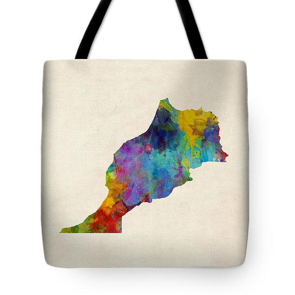 Tote Bag featuring the digital art Morocco Watercolor Map by Michael Tompsett