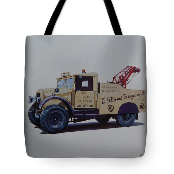 Tote Bag featuring the painting Morris Commercial Wrecker. by Mike Jeffries