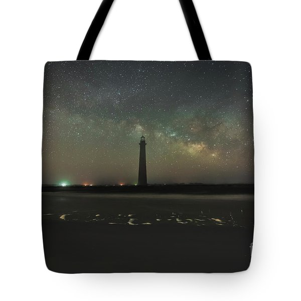 Morris Island Light House Milky Way Tote Bag by Robert Loe