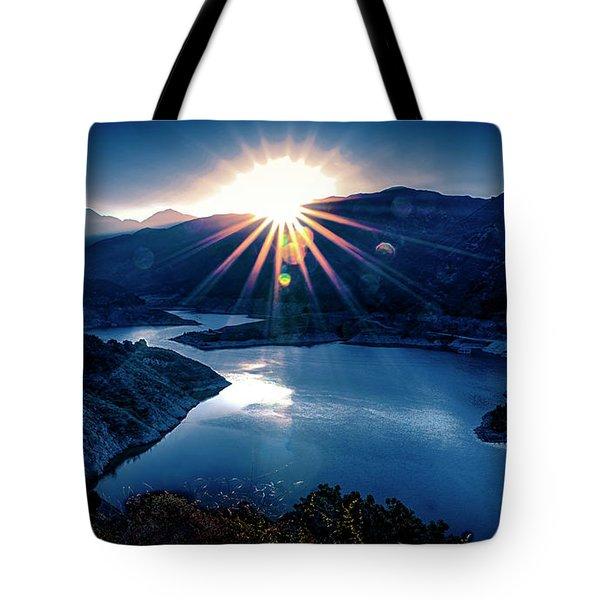 Morris Reservoir Sunrise Tote Bag by Joseph Hollingsworth
