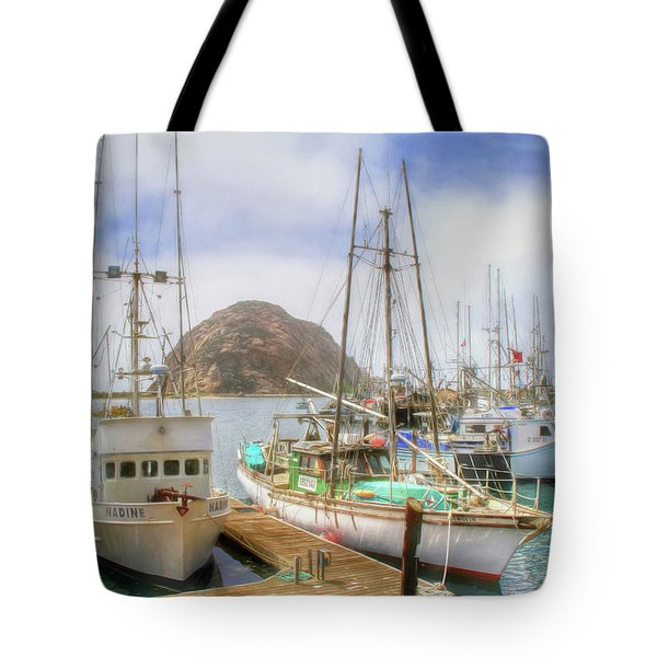 Tote Bag featuring the photograph Morro Bay Rock And Marina by Donna Kennedy