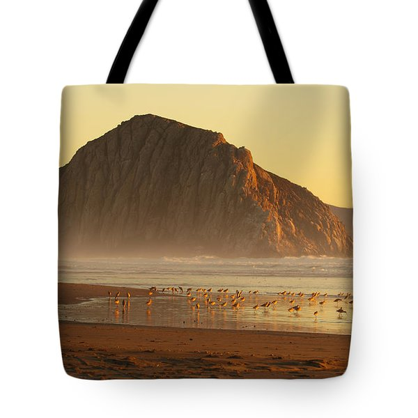 Tote Bag featuring the photograph Morro Rock At Sunset by Max Allen