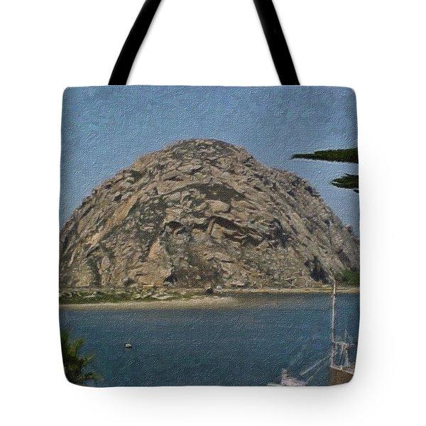 Morro Rock California Painting Tote Bag by Teresa Mucha