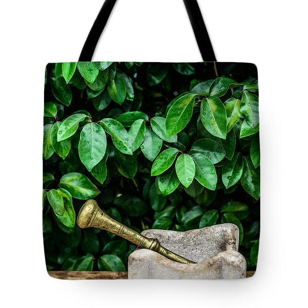 Mortar And Pestle Tote Bag by Marco Oliveira