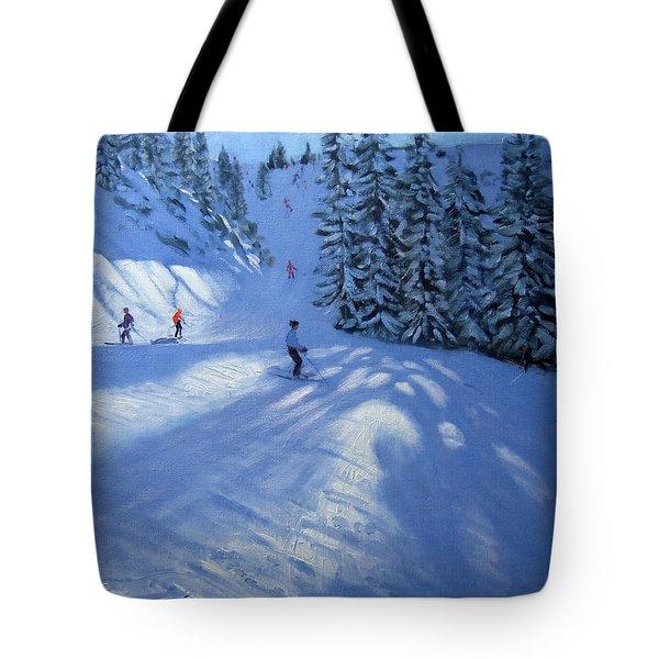 Morzine Ski Run Tote Bag by Andrew Macara