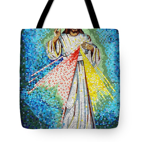 Tote Bag featuring the photograph Mosaic Of Christ Rising by Joseph Frank Baraba