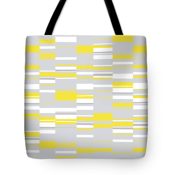 Tote Bag featuring the digital art Mosaic Rectangles In Yellow Gray White  by Menega Sabidussi
