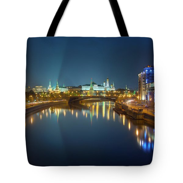 Tote Bag featuring the photograph Moscow Kremlin At Night by Alexey Kljatov