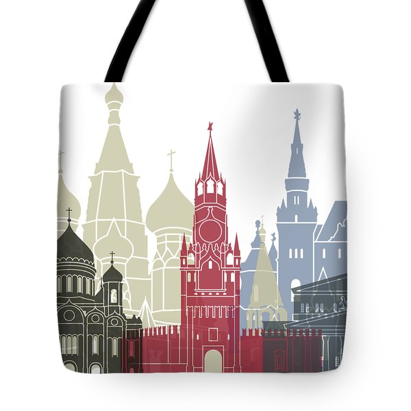 Moscow Skyline Poster Tote Bag by Pablo Romero
