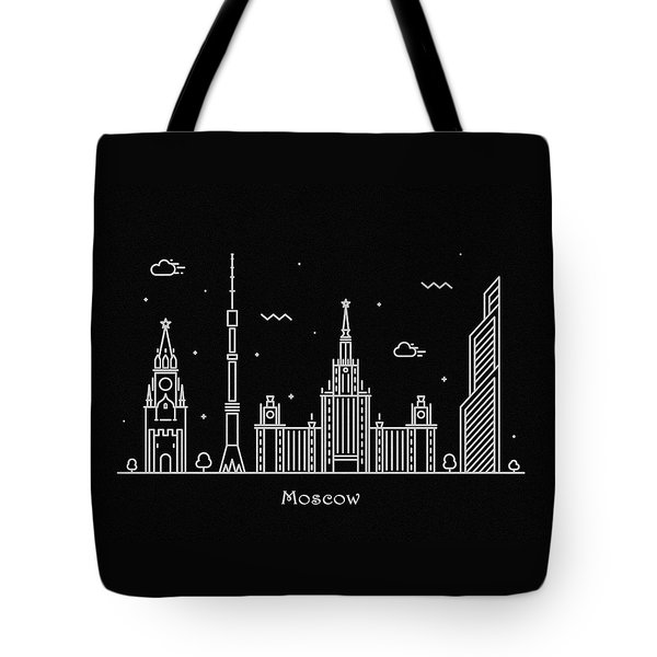 Moscow Skyline Travel Poster Tote Bag