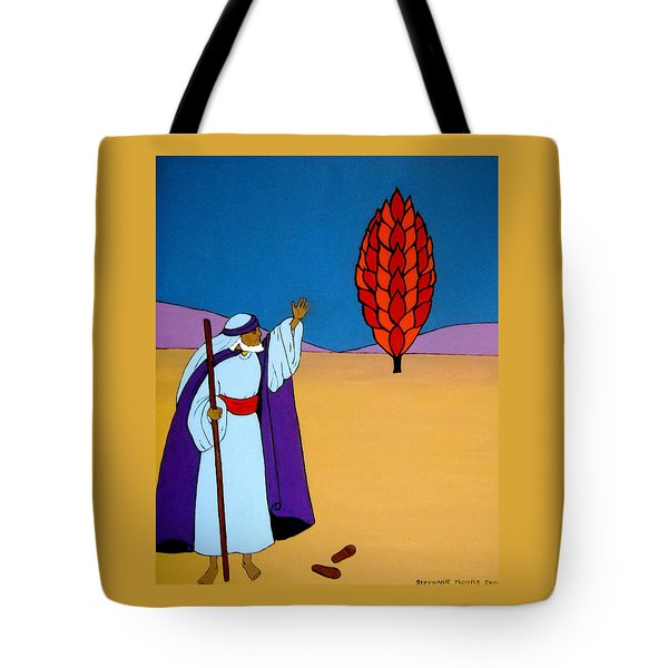 Moses And The Burning Bush Tote Bag by Stephanie Moore