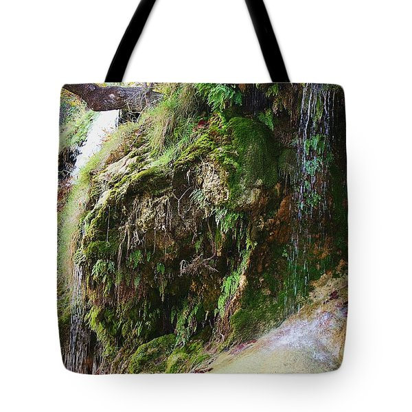 Tote Bag featuring the photograph Moss And Waterfalls by Sheila Brown