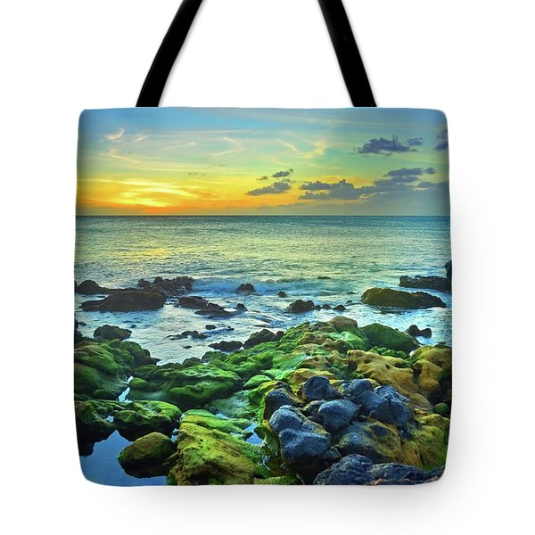 Tote Bag featuring the photograph Moss Covered Rocks At Sunset In Molokai by Tara Turner