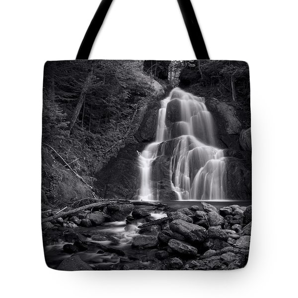Tote Bag featuring the photograph Moss Glen Falls - Monochrome by Stephen Stookey