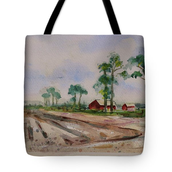 Tote Bag featuring the painting Moss Landing Pine Trees Farm California Landscape 2 by Xueling Zou