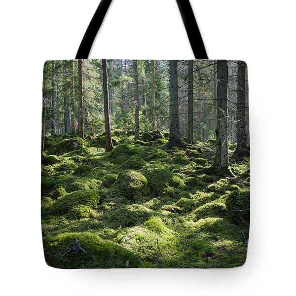 Tote Bag featuring the photograph Mossy Green Forest by Kennerth and Birgitta Kullman