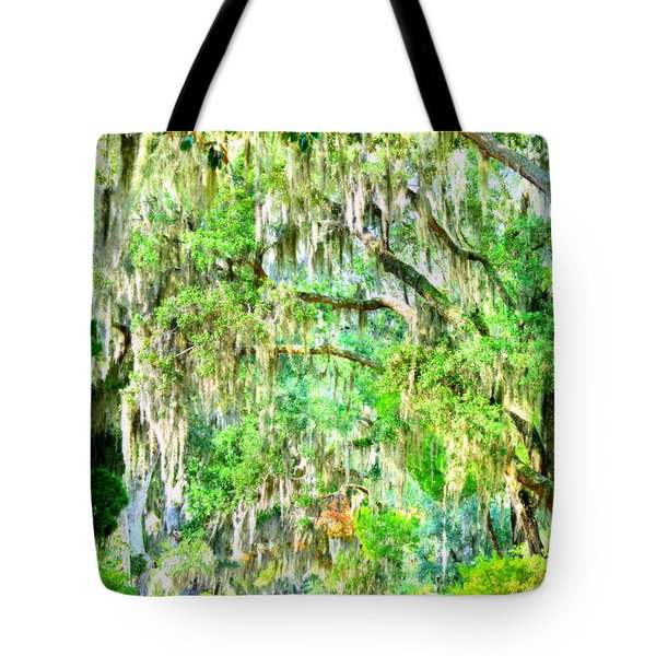 Tote Bag featuring the photograph Mossy Oak Pathway H D R by Lisa Wooten
