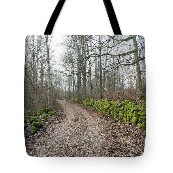 Tote Bag featuring the photograph Mossy Stone Walls Along A Country Road by Kennerth and Birgitta Kullman