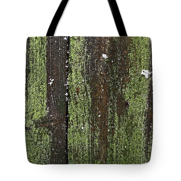 Tote Bag featuring the photograph Mossy Winter Fence by Mary Bedy