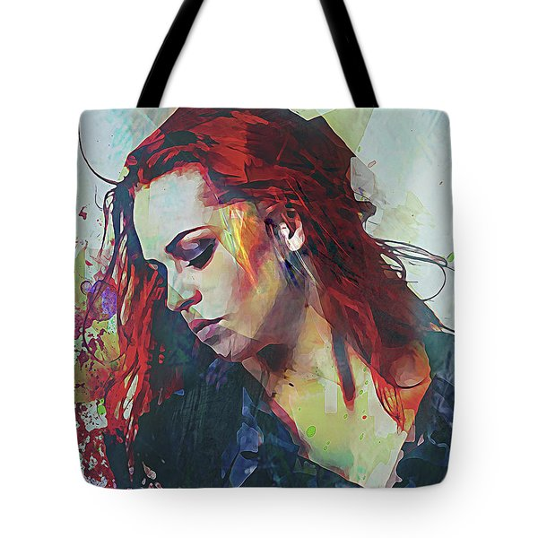 Mostly- Abstract Portrait Tote Bag by Galen Valle