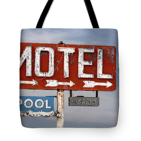 Motel And Pool Sign Route 66 Tote Bag
